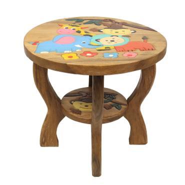 Kindertisch Spieltisch für Kinder Dschungel ca. 50cm Durchmesser & 45cm Höhe Natur Braun Limboholz Holz