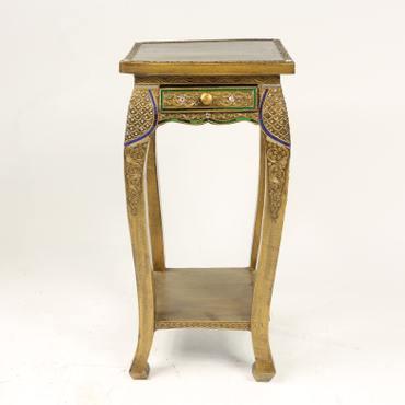 B-Ware Nachttisch Hocker Beistelltisch Ablage Opiumtisch Akazien Massiv Holz Spiegelsteine Quadratisch Gold Antik - 76 cm hoch – Bild 1