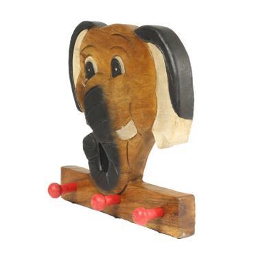 Kindergarderobe Garderobenleiste Hakenleiste Holzgarderobe Kindermöbel Elefant 3 Haken Holzfarben Natur Limboholz Holz  – Bild 2