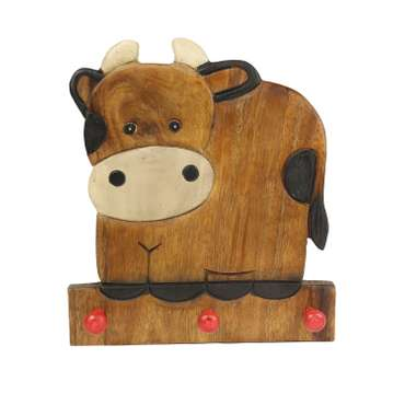 Kindergarderobe Garderobenleiste Hakenleiste Holzgarderobe Kindermöbel Kuh 3 Haken Holzfarben Natur Limboholz Holz  – Bild 1