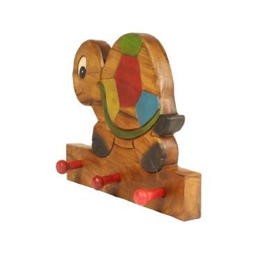 Kindergarderobe Garderobenleiste Hakenleiste Holzgarderobe Kindermöbel Schildkröte 3 Haken Holzfarben Natur Limboholz Holz  – Bild 2