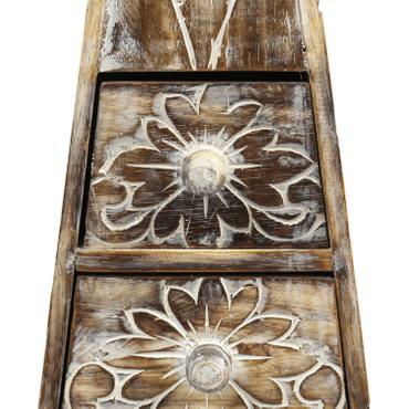 Pyramide Schrank Kommode Schmuckschrank Flurschrank Dielenschrank Schubladenkommode Blumen 100 cm Natur – Bild 2