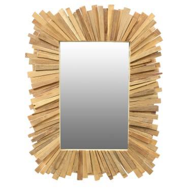 Eckiger Spiegel mit Rahmen aus Holzstücken Sonne Massiv Holzrahmen Wandspiegel großer Holz-Spiegel ca. 90 x 70 cm  – Bild 1
