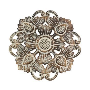 Vintage Blumen Ornament  Shabby Chic Symbol Holzblume Mandala Relief Deko Holz Schnitzerei Brownwash ca. 40 x 40 cm