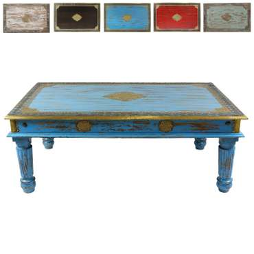 Türkiser Wohnzimmertisch im Shabby Chic Stil Holz Couchtisch Holztisch Tisch Vintage Retro nostalgisch Used-Look Antik-Look Landhaus-Stil 120 cm Mango M3