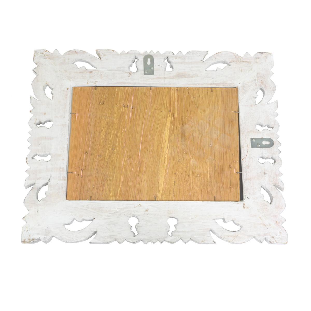 Barock Wandspiegel Spiegel Schminkspiegel Landhaus Holzrahmen Vintage  Shabby Chic Weiß/Gold 40 x 50cm
