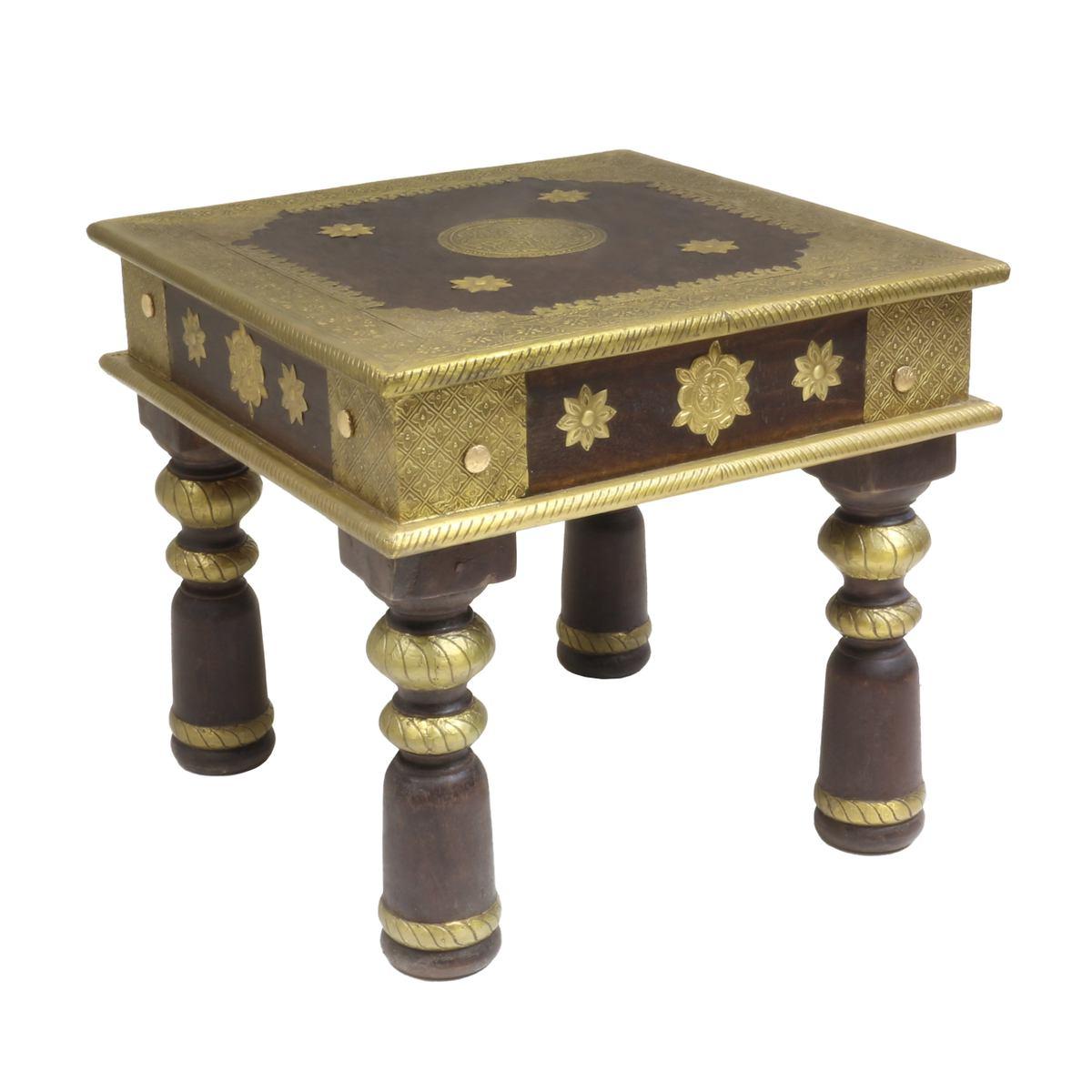 Holztisch Opiumtisch Asiatischer Wohnzimmertisch Couchtisch Sofatisch  niedriger Tisch ca.37 x 37cm Dunkelbraun mit Gold TEC-37A Klein  Oriental