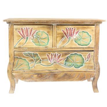 60 cm Schrank Kommode Dielenschrank Holzschrank Floral Blumen dunkelbraun ca