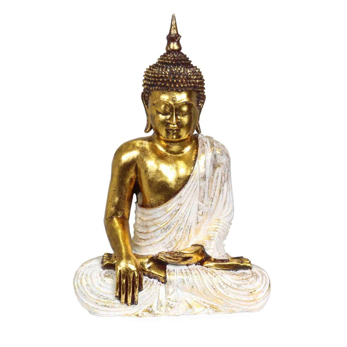 Buddha 3er Figur,19 cm Polyresin,Buddhismus Asien gold braun