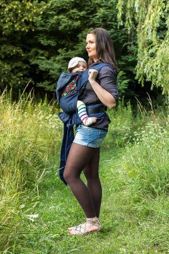 JoNoBaby | Mei Tai | Rockebella Kirschen / Summer light Blue Jeans