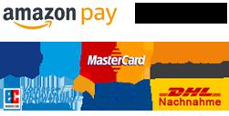 Zahlungsarten - Amazon Pay, Klarna, Paypay, Überweisung & DHL Nachnahme