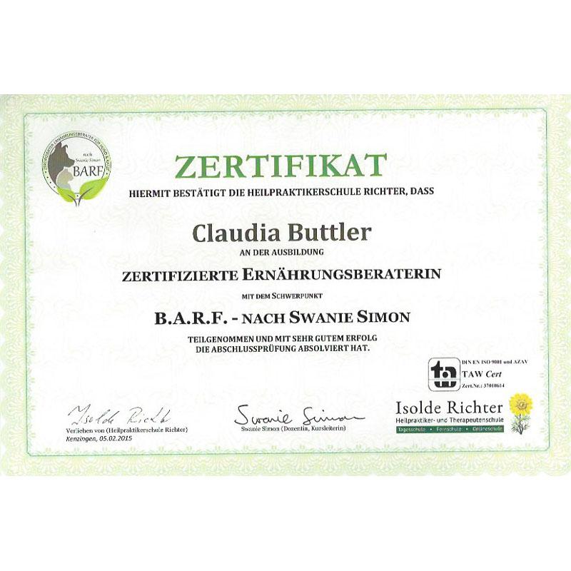 Zertifikat Claudia Buttler