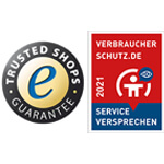 Trusted Shops Logo mit Verbraucherschutz 2021 Gütesiegel