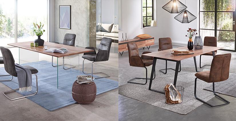 Edge Esstisch mit Glasgestell und Edge Esstisch mit schrägen Gestell