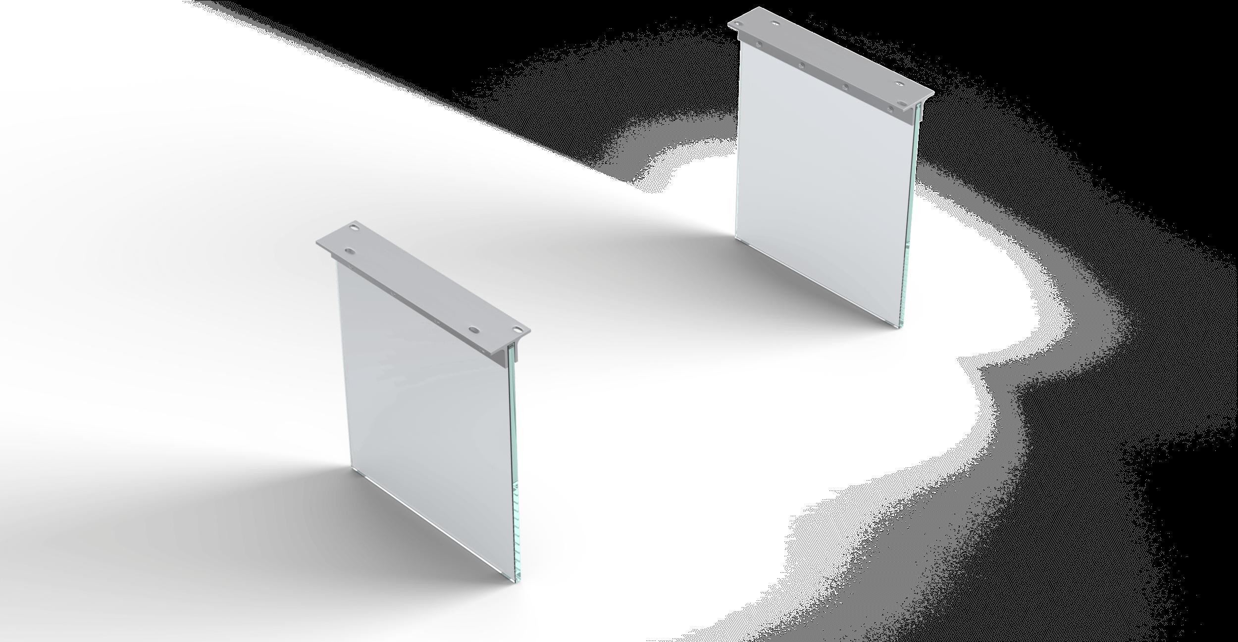 Eettafelvoet Edge serie 200cm glas