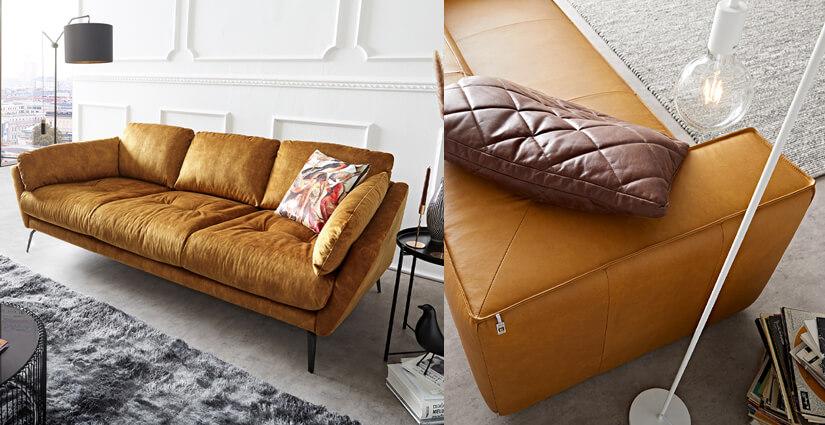 W. SCHILLIG - Braunes 3-Sitzer Sofa