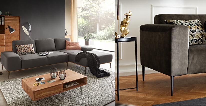 W. SCHILLIG - Graue Wohnlandschaft Sofa