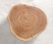Hocker Live-Edge Akazie Natur 42x44 cm massiv Baumstamm mit Rollen Beistelltisch [10148]