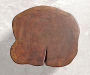Hocker Live-Edge Akazie Braun 42x44 cm massiv Baumstamm mit Rollen Beistelltisch [10149]