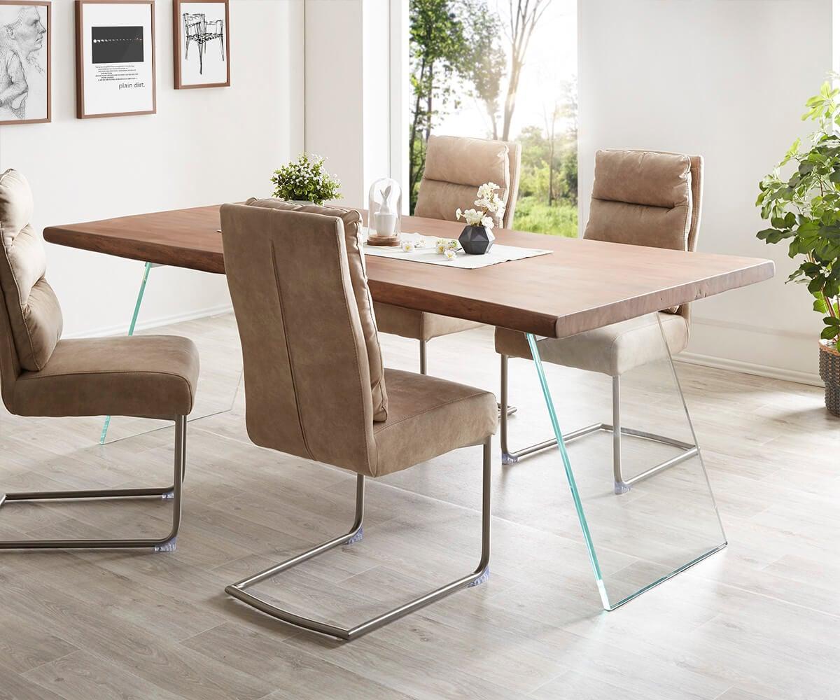 tischplatte live edge baumtisch 200x100x5 5 akazie braun live edge einzelteile. Black Bedroom Furniture Sets. Home Design Ideas