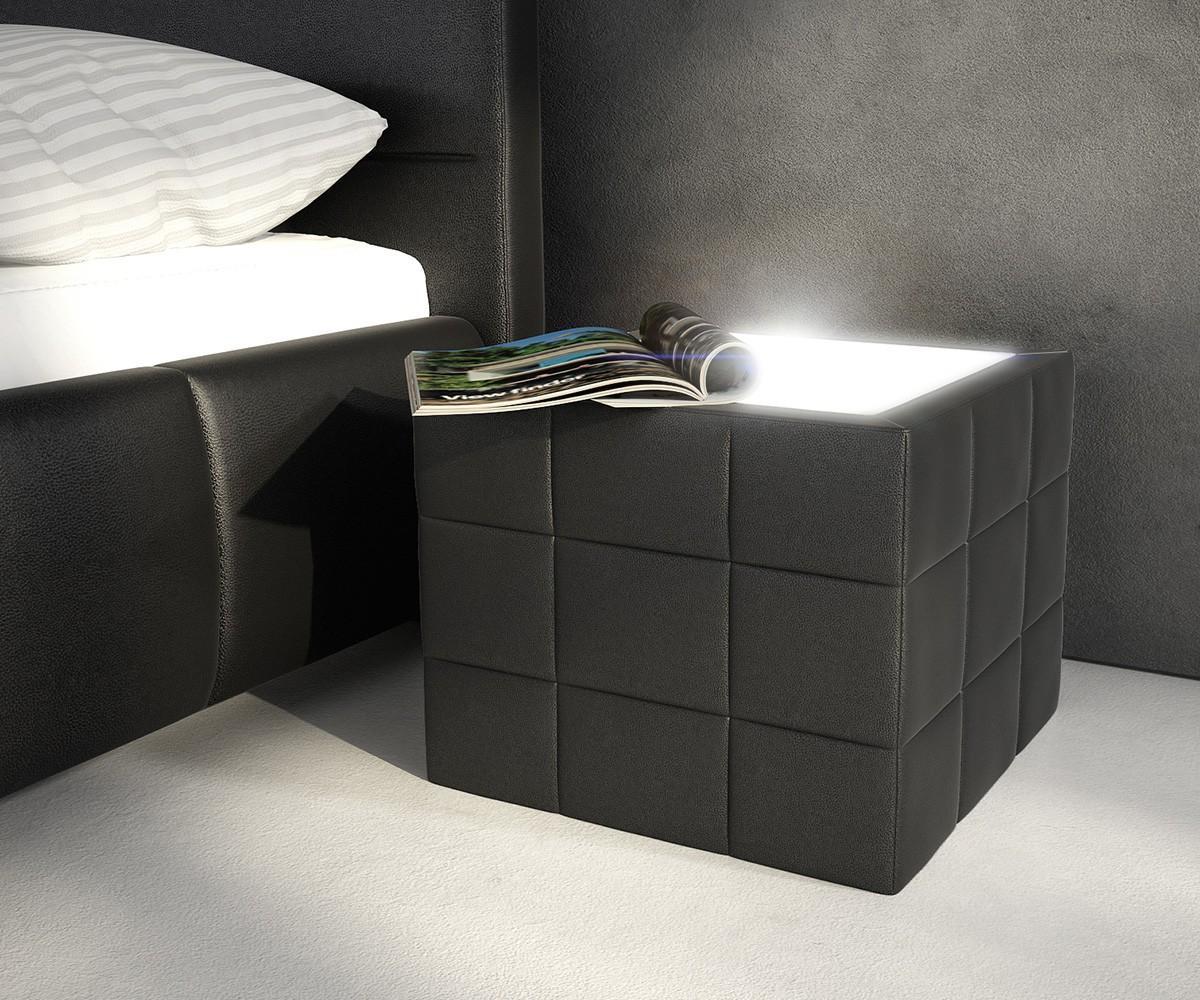 DELIFE Nachttisch Nuncia 41x41cm Schwarz Beleuchtung Steppnaht, Nachttische