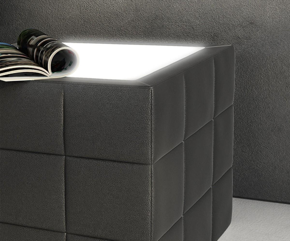 Nachttisch Nuncia 41x41cm Schwarz Beleuchtung Steppnaht Mobel Betten