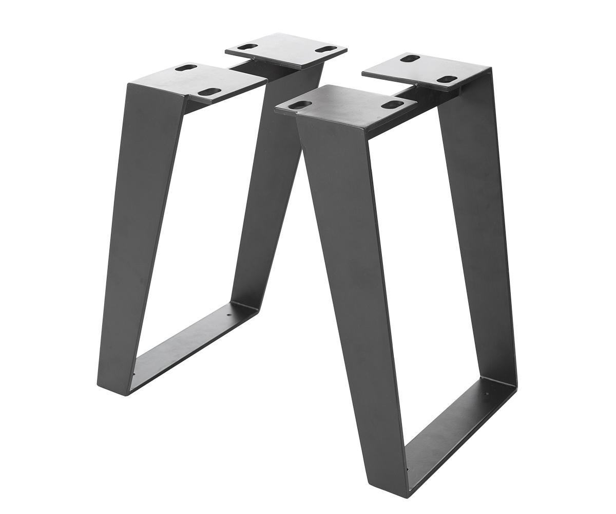 2er-Set-Bankbeine Live-Edge Baumbank 6,0x0,8 cm Metall Schwarz schräg