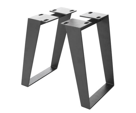 Bank-onderstel Live-Edge boombank 6,0x0,8 cm metaal zwart schuin (Set van 2)  1