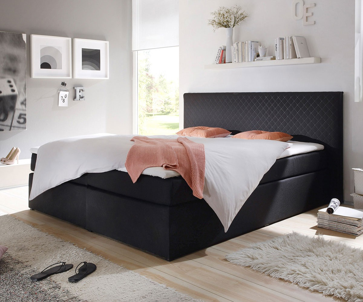 boxspringbett stafford 180x200 cm schwarz abgesteppt m bel betten boxspringbetten. Black Bedroom Furniture Sets. Home Design Ideas