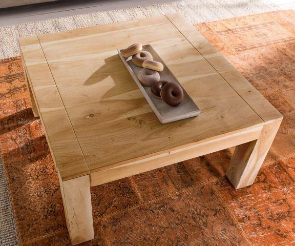 Salontafel Indra acacia natuur 80x80 cm massief hout  3