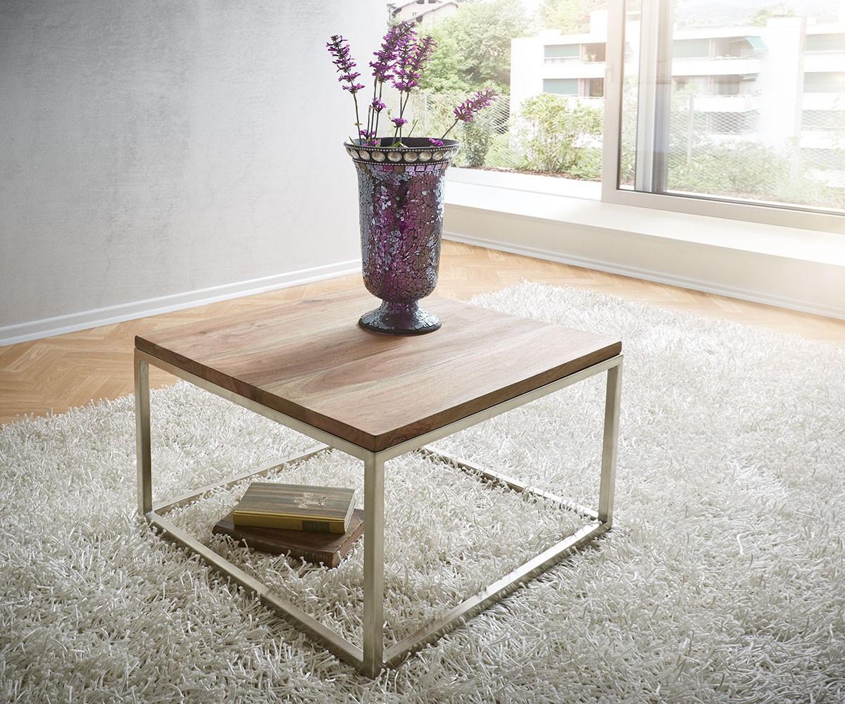 couchtisch tatius 60x60cm sheesham natur edelstahl m bel. Black Bedroom Furniture Sets. Home Design Ideas
