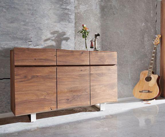 Dressoir Live-Edge 147 cm acacia bruin 3 deuren 3 laden 2