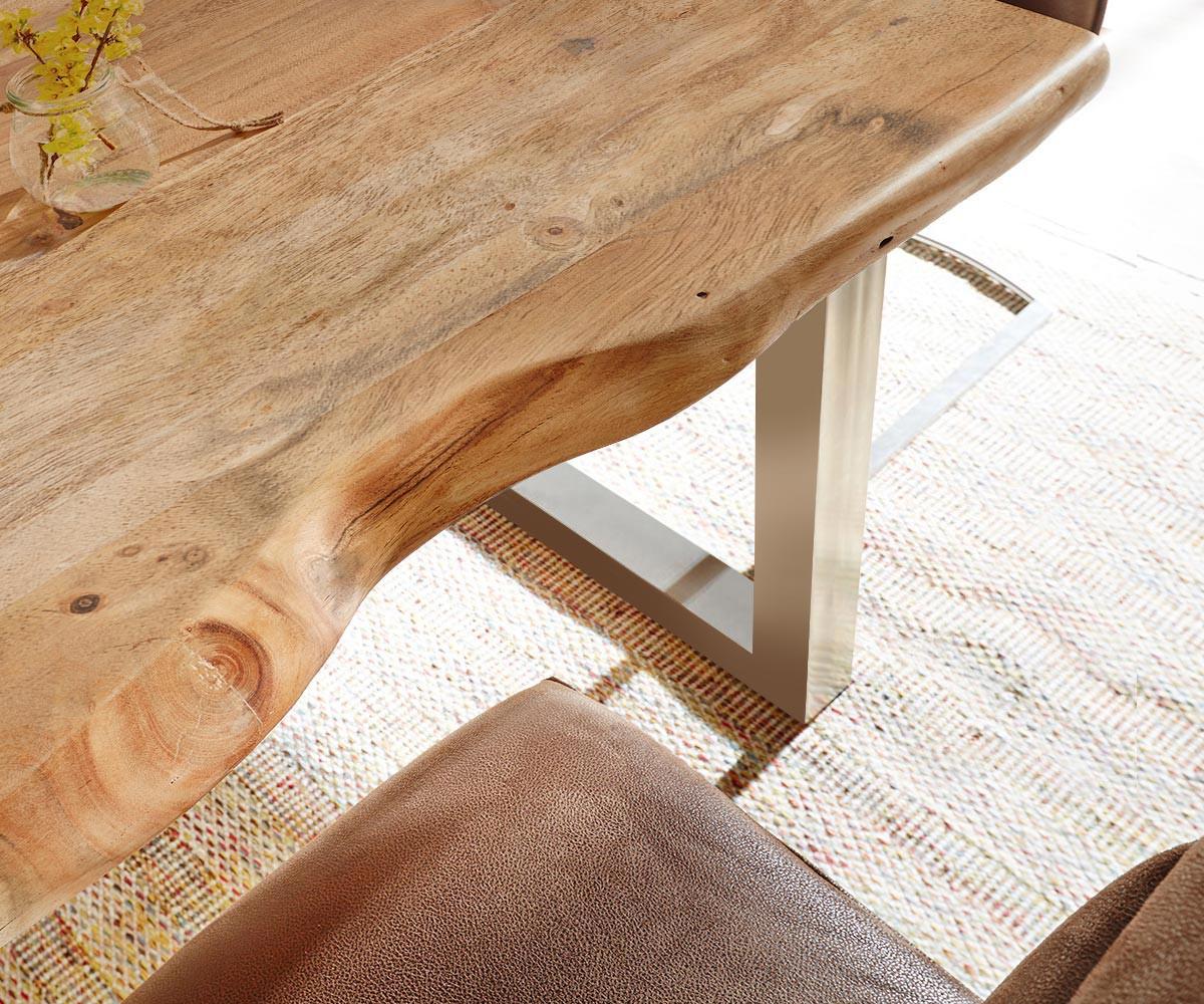 baumtisch live edge 140x90 akazie natur platte 5cm gestell. Black Bedroom Furniture Sets. Home Design Ideas