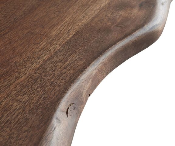 Boomtafel Live-Edge 140x90 acacia bruin blad 5cm schuin frame 3