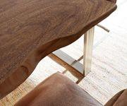 Massivholztisch Live-Edge Akazie Braun 140x90 Platte 5cm Gestell schmal Baumtisch [10330]