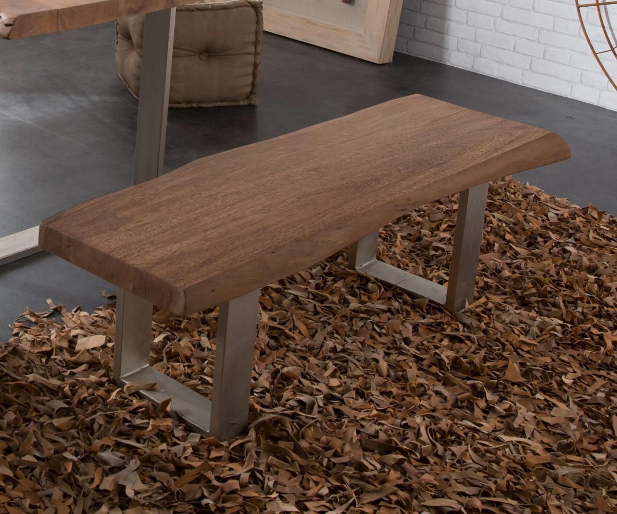 Zitbankje van massief hout Live-Edge frame smal acacia bruin 135x40