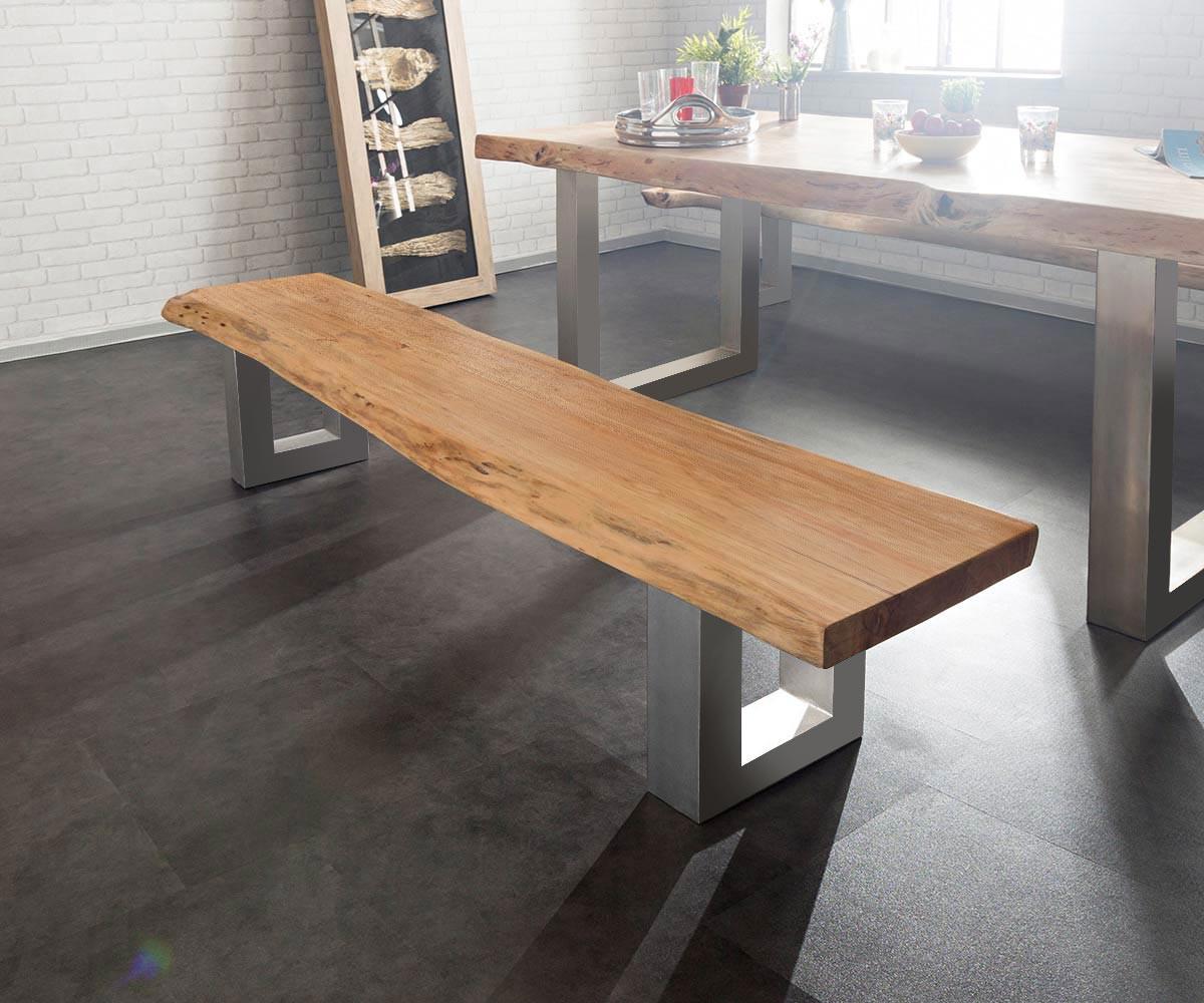 sitzbank live edge 195x40 akazie natur gestell breit m bel. Black Bedroom Furniture Sets. Home Design Ideas