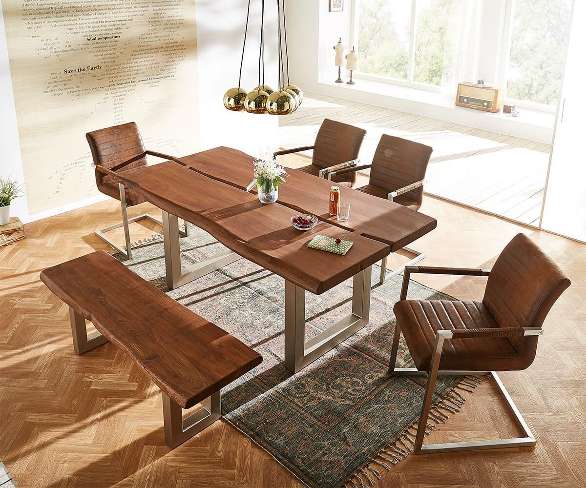 sitzbank live edge 135x40 akazie braun gestell breit m bel. Black Bedroom Furniture Sets. Home Design Ideas