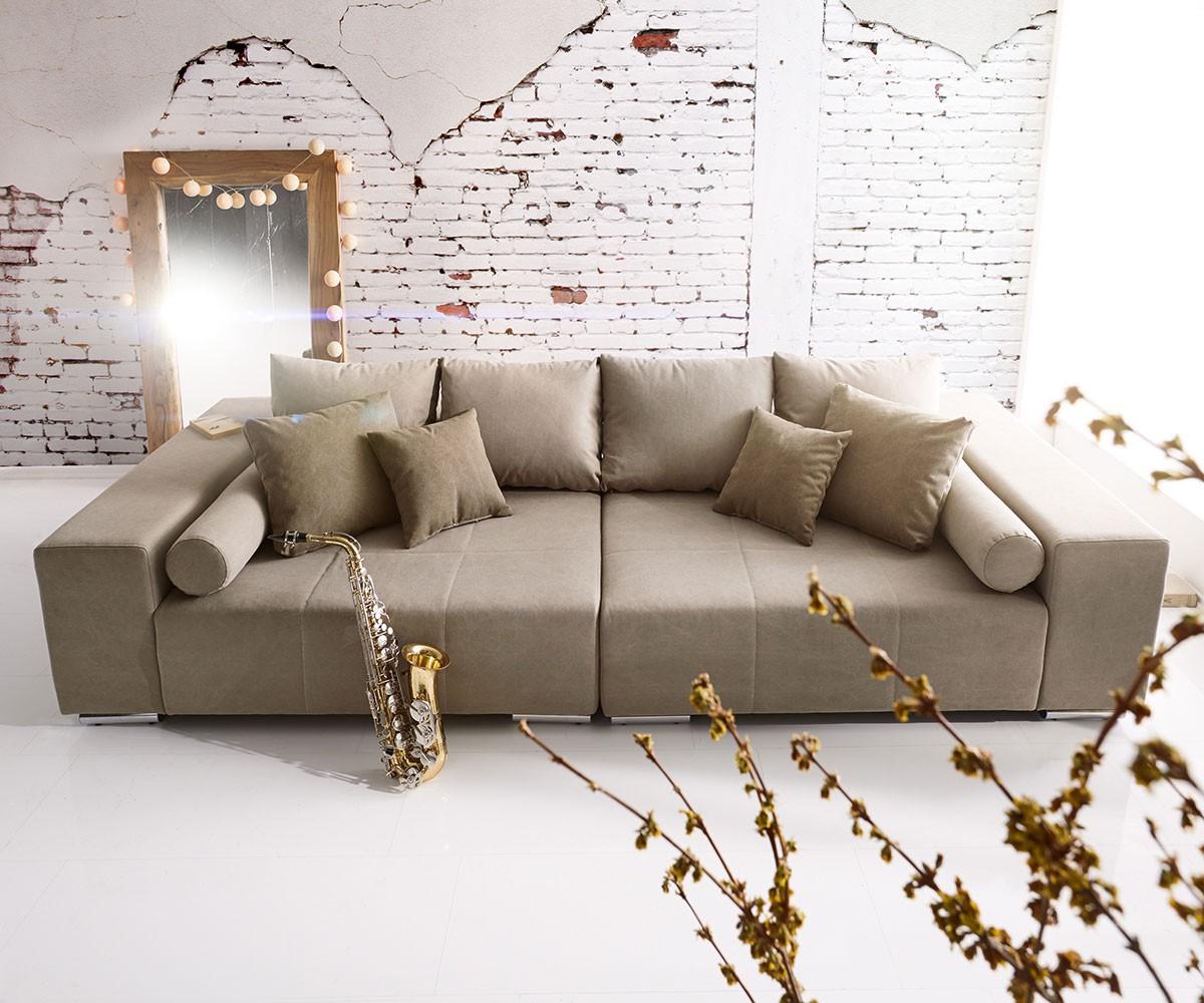 DELIFE Big-Sofa Marbeya 285x115 cm Grau 10 Kissen, Big Sofas