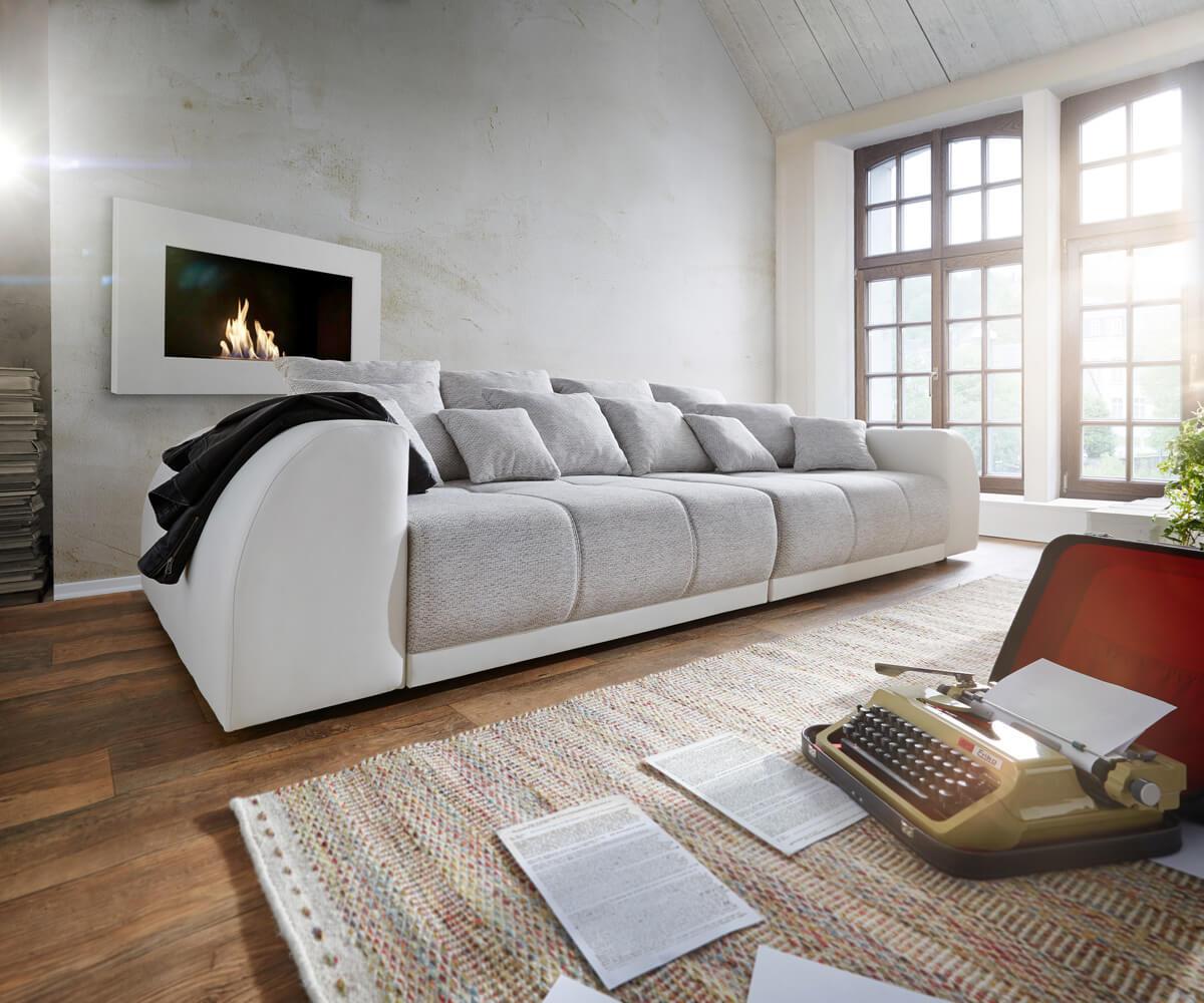 Big-Sofa Violetta 310x135 Creme Hellgrau mit 12 Kissen