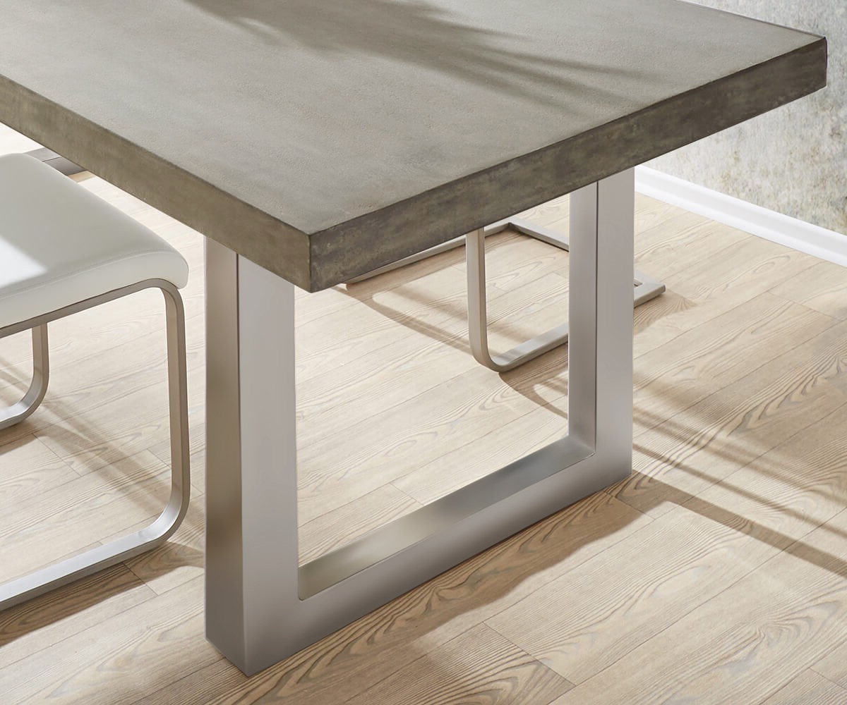 Esstisch zement 140x90 grau beton optik gestell breit for Esstisch 140x90
