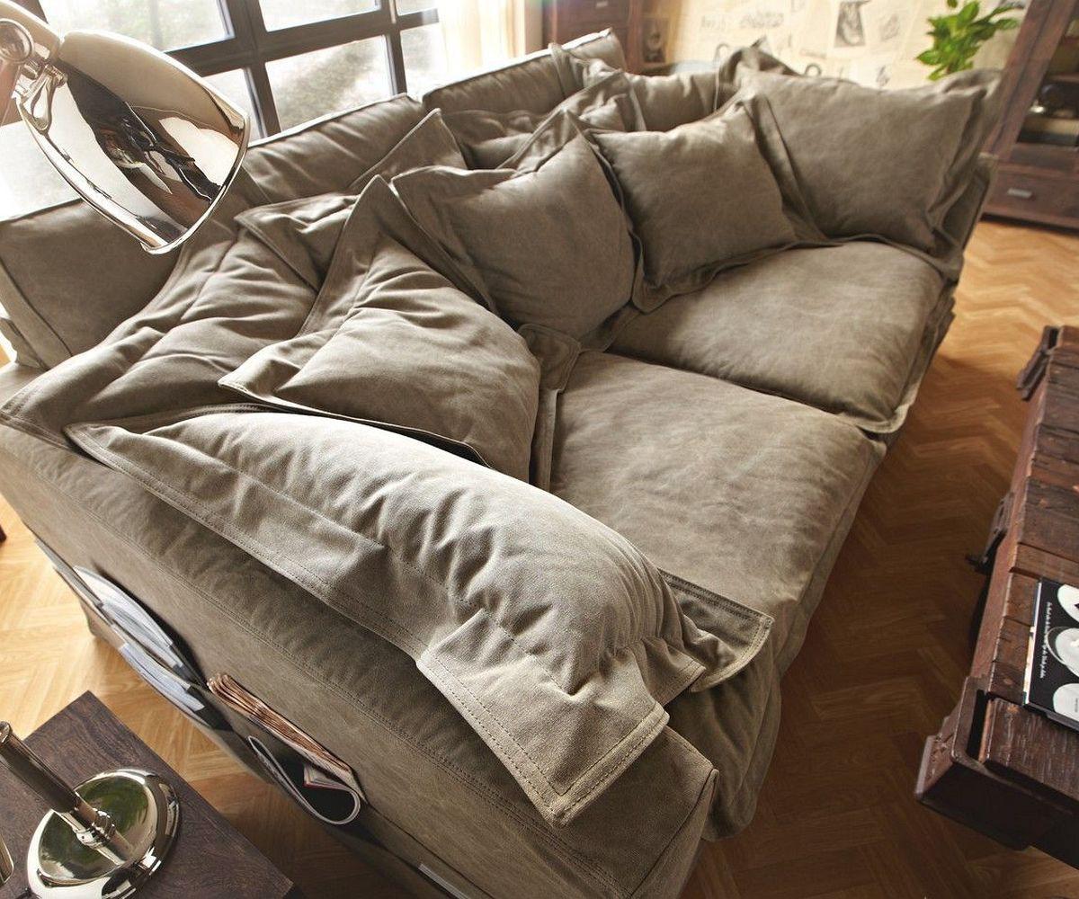 Hussensofa Noelia 240x145 cm Braun Couch mit Kissen Möbel Sofas Big ...