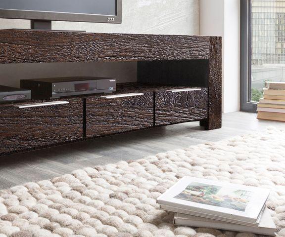 TV-meubel Blokk 200 cm acacia tabak 4 schuifladen  3
