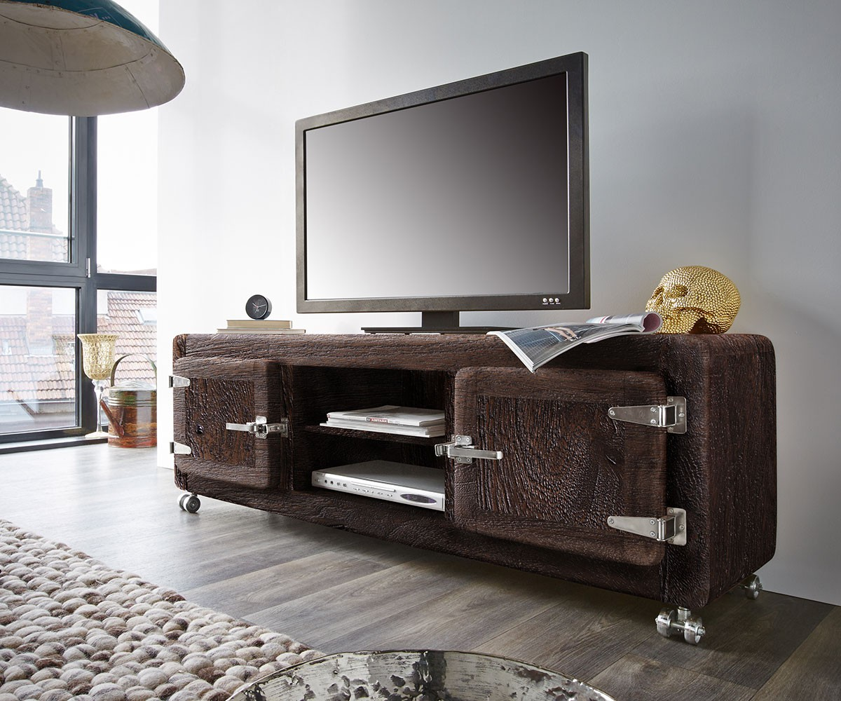 fernsehtisch zakarya akazie tabak 155 cm rollen 2 t ren massiv lowboard. Black Bedroom Furniture Sets. Home Design Ideas