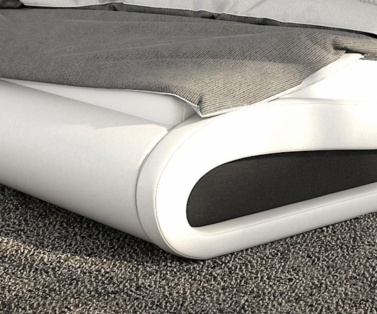 Bett belana weiss schwarz 140x200 cm mit led beleuchtung polsterbett