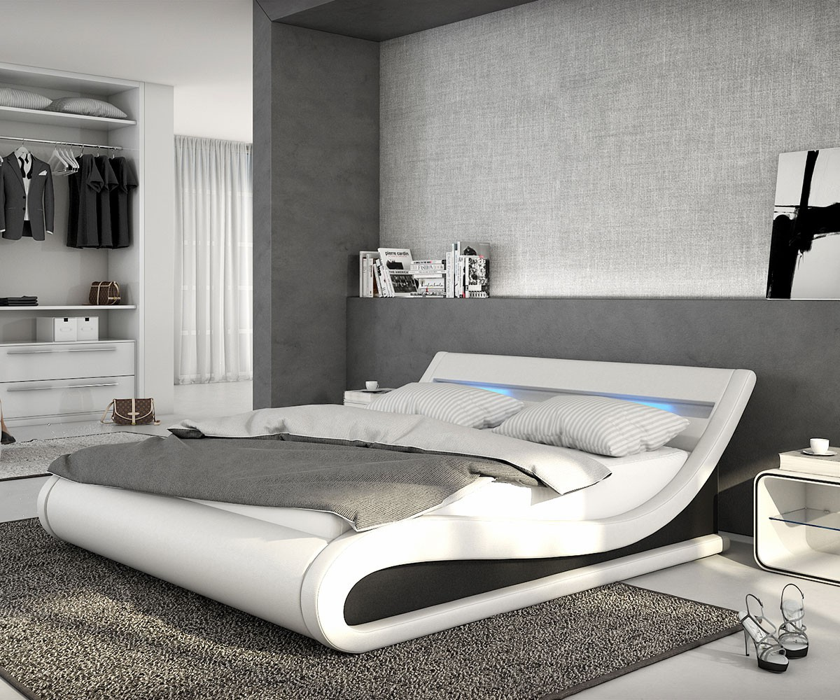 bed belana white black 180x200 cm with led headboard upholstered bed ebay