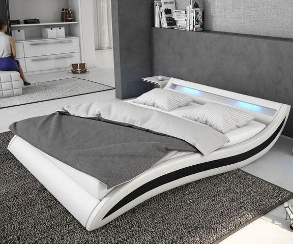 Gestoffeerd-bed Adonia 140x200 cm wit zwart met LED 1