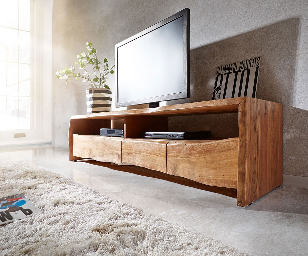 fernsehtisch live edge akazie natur 230 cm 4 schubk sten baumkante lowboard. Black Bedroom Furniture Sets. Home Design Ideas