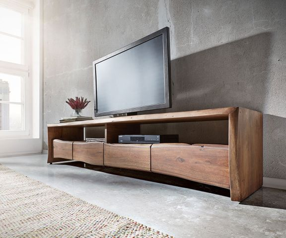 TV-meubel Live-Edge 230 cm acacia massief bruin 4 lades 1