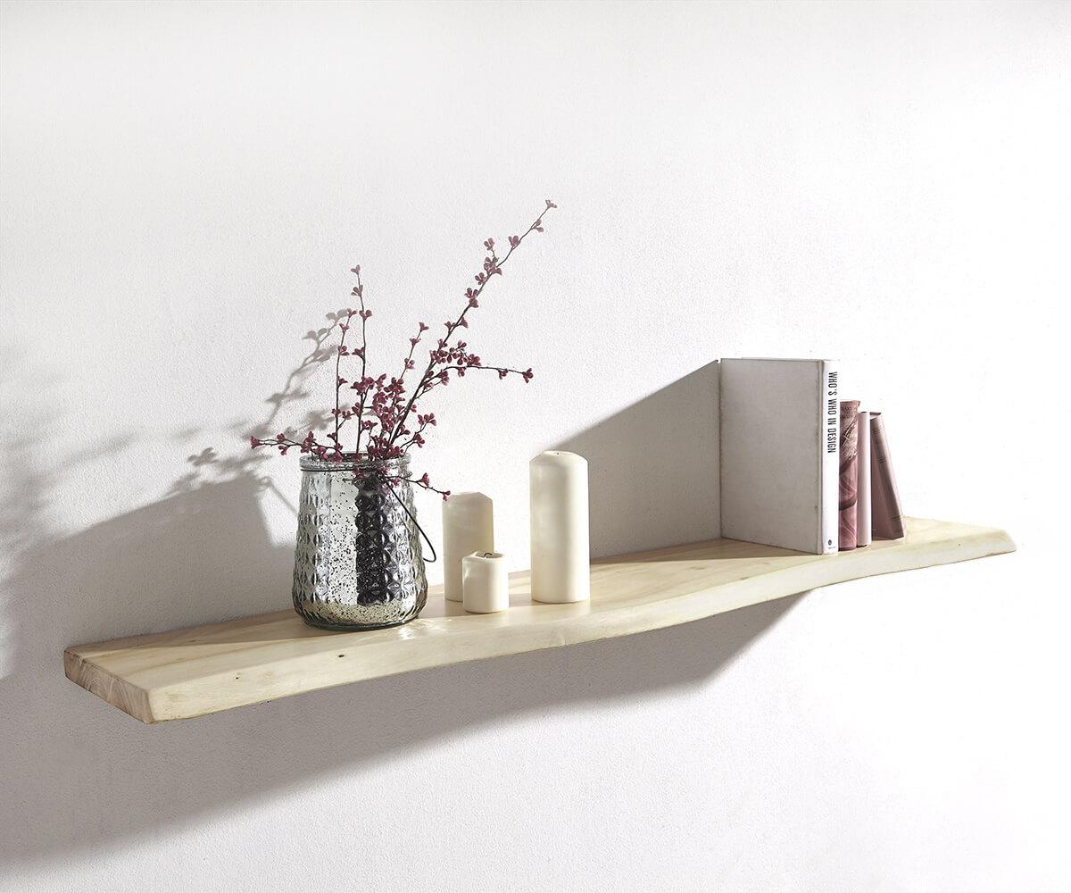 Wandregal Live-Edge 100 cm Akazie Gebleicht Baumkante